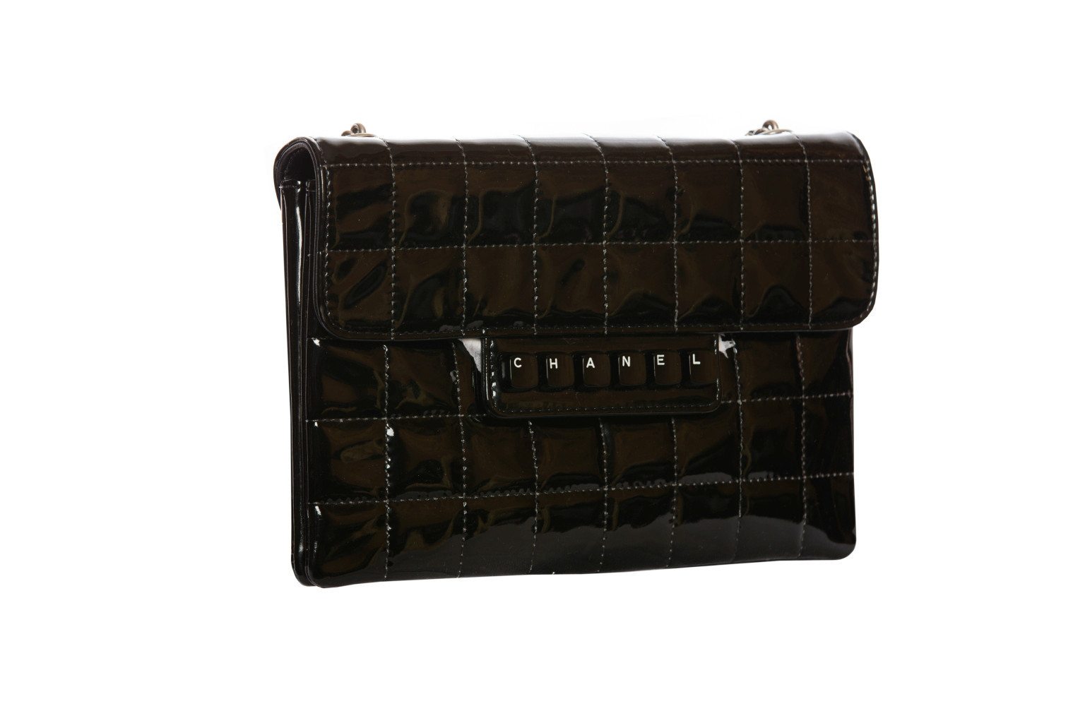 Chanel black quilted patent leather clutch bag