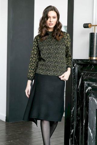 Фото шерстяная юбка с широким асимметричным низом - Юбка Б147-708 (1)