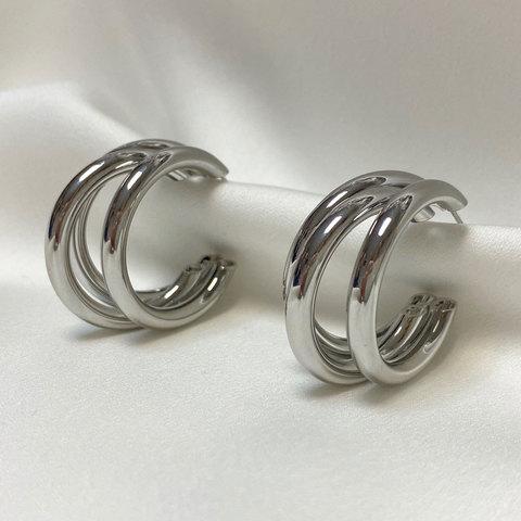 Серьги тройные кольца незамкнутые крупные серебристые ш925