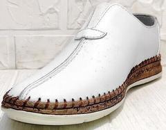Кожаные туфли мужские эспадрильи casual стиль летние Luciano Bellini 91724-S-304 All White.