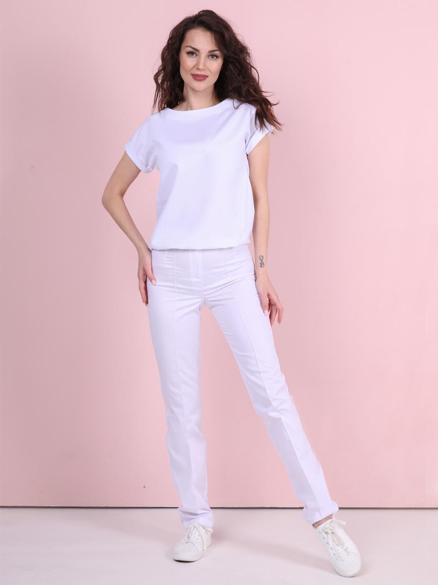 Белые медицинские брюки Б-110 MediS.moda
