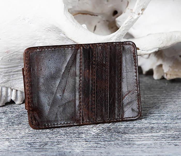 WL306-2 Кожаный зажим для денег с магнитом фото 04