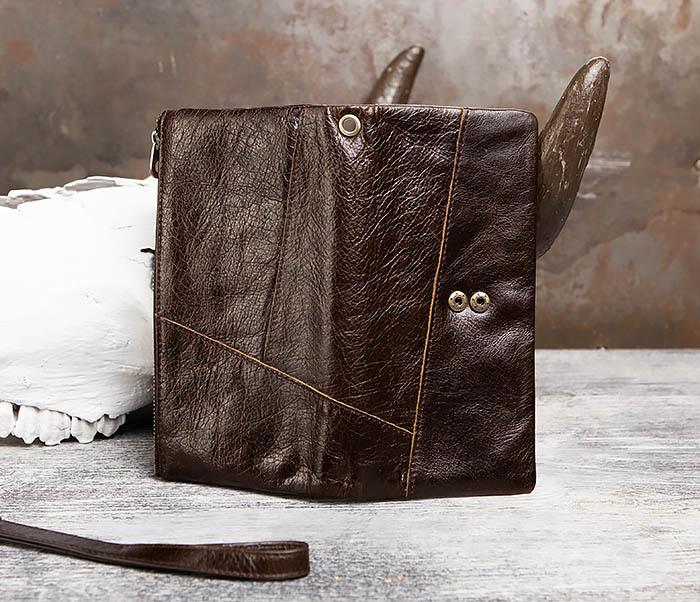 WL299-2 Мужской клатч с ремешком из натуральной кожи фото 06