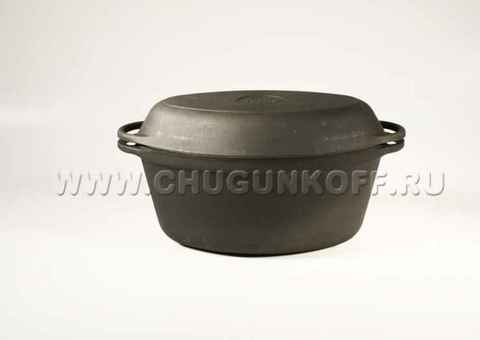 Утятница чугунная с чугунной крышкой-сковородой (3,5 л.)