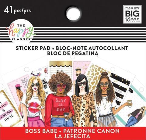 Блокнот со стикерами для ежедневника - Happy Planner X Rongrong Tiny Sticker Pad -Boss Babe- 41шт