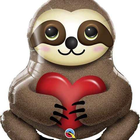 Фольгированный шар «Ленивец с сердцем», 99 см