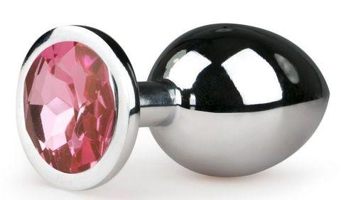 Серебристая анальная пробка Metal Butt Plug с розовым кристаллом - 8,4 см.