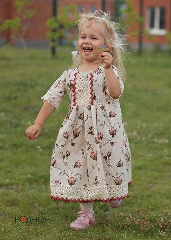 платье для девочки в русском стиле с кружевом Свое... Родное для Иванка