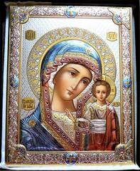 Серебряная икона Божья Матерь Казанская