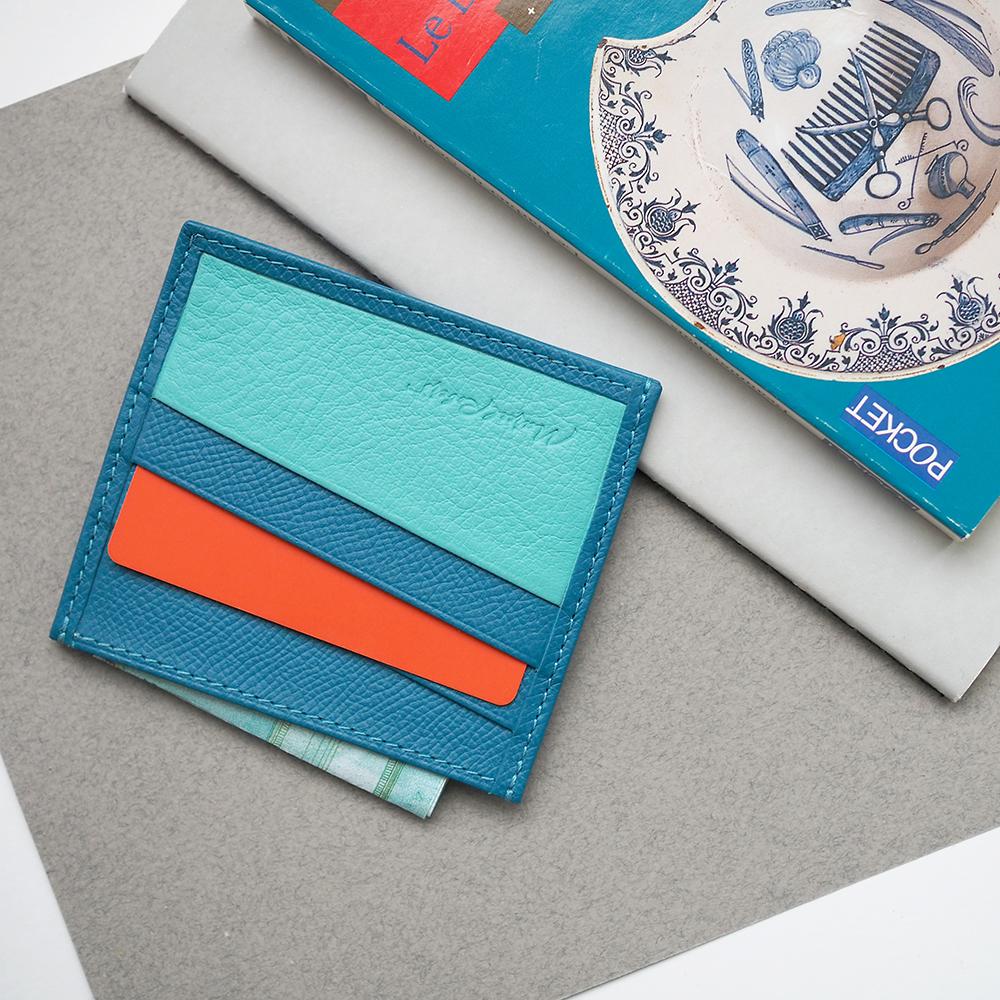 Картхолдер-визитница суфле Carte+ Bicolor из натуральной кожи теленка, морского  цвета