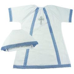 Папитто. Набор крестильный для мальчика с голубым кружевом