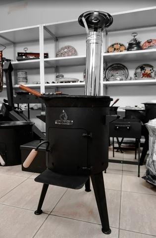 """Комплект """"Печка с трубой Granada Premium + казан 6 литров"""""""