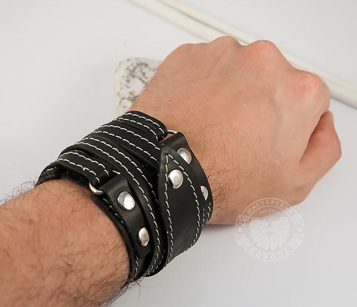 BL425-1 Мужской браслет напульсник из кожи, ручная работа, «Boroda Design» фото 07