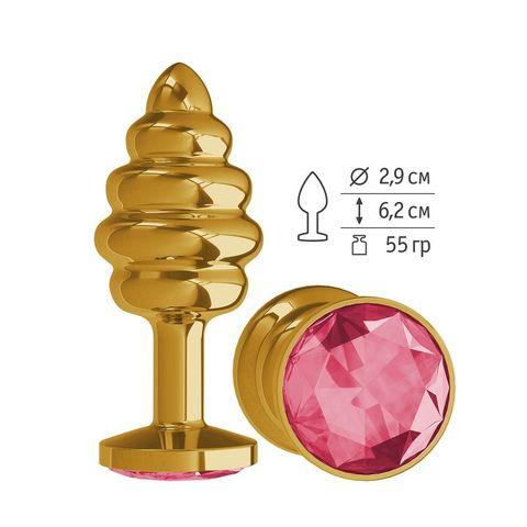 Золотистая пробка с рёбрышками и малиновым кристаллом - 7 см.