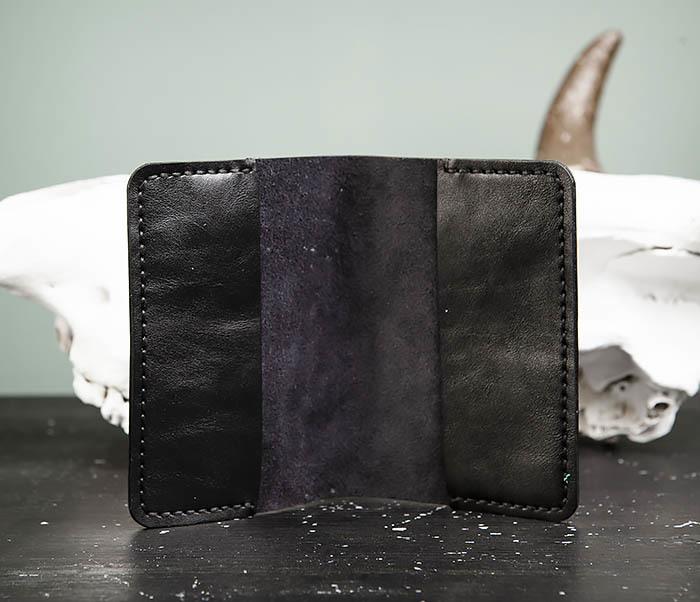 WB174-1 Черная обложка на паспорт из натуральной кожи фото 06