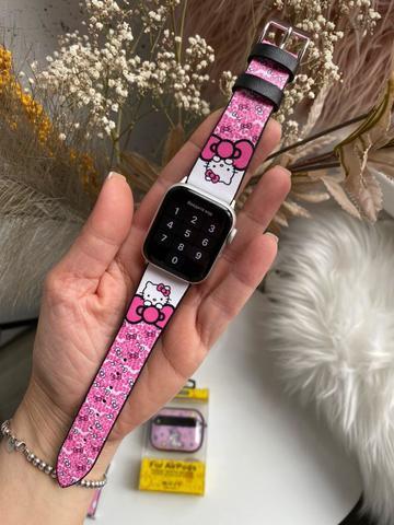 Ремешок Apple watch 42mm Leather Сlassic t/hello kitty pink/