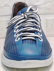 Легкие кроссовки сникерсы на шнурках летние city casual Wollen P029-2096-24 Blue White.