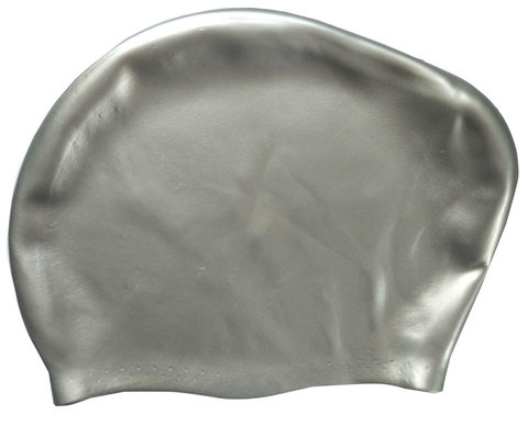 Шапочка для плавания силиконовая Dobest для длинных волос KW10 (серебро),