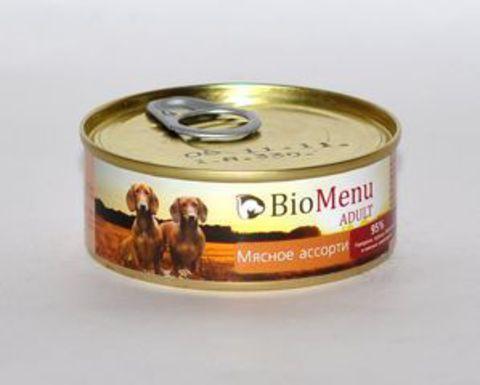BioMenu ADULT Консервы д/собак Мясное ассорти 95%-МЯСО 100гр*24
