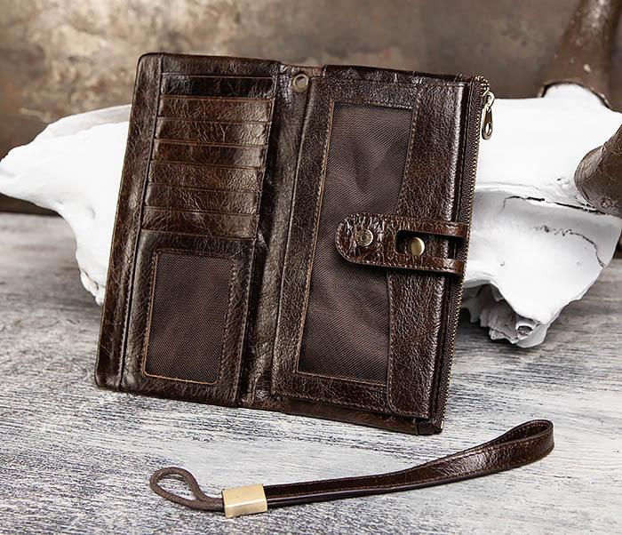 WL299-2 Мужской клатч с ремешком из натуральной кожи фото 08