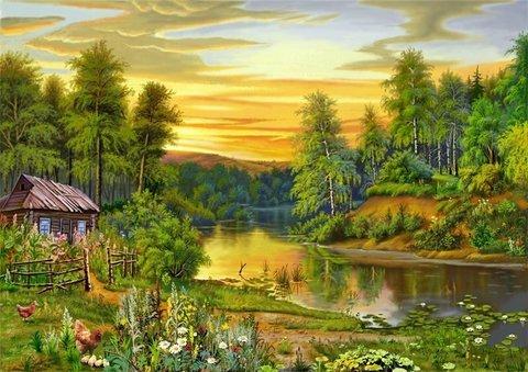 Картина раскраска по номерам 30x40 Деревенский пейзаж