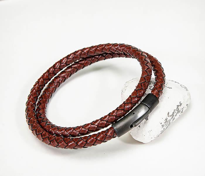 BM513-3R Двойной браслет из кожаного шнура бордового цвета