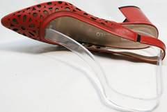 Женские летние туфли с перфорацией G.U.E.R.O G067-TN Red.