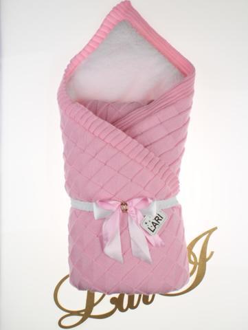 Зимний вязаный конверт одеяло Лапушка (розовый)