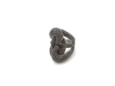 16015- Широкое кольцо Узел из серебра с коричневыми микроцирконами