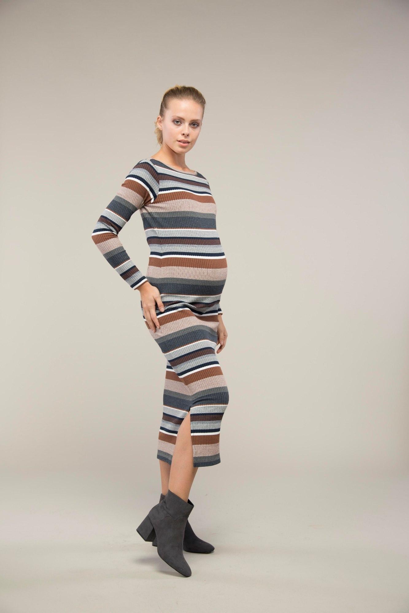 Фото платье для беременных GEBE, длинное от магазина СкороМама, цветной, карамельные полосы, размеры.