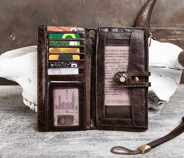 WL299-2 Мужской клатч с ремешком из натуральной кожи фото 09