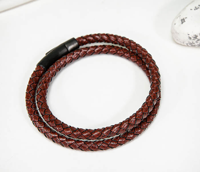 BM513-3R Двойной браслет из кожаного шнура бордового цвета фото 02