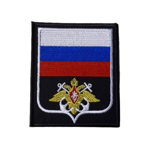 Шеврон нарукавный ВМФ (черный,белый якорь,белый кант)