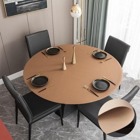 Скатерть-накладка на круглый стол диаметр 114см двухсторонняя из экокожи бежевая