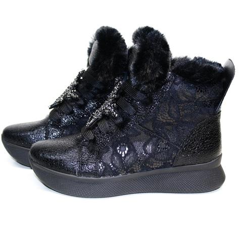 Черные кроссовки сникерсы с мехом - кожаные кроссовки зимние женские Kluchini 36 размер