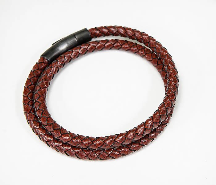BM513-3R Двойной браслет из кожаного шнура бордового цвета фото 03