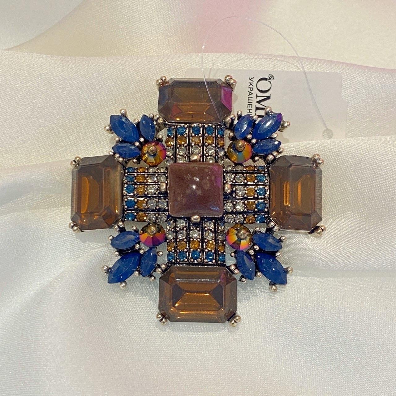 Брошь Орден M коричневый синий