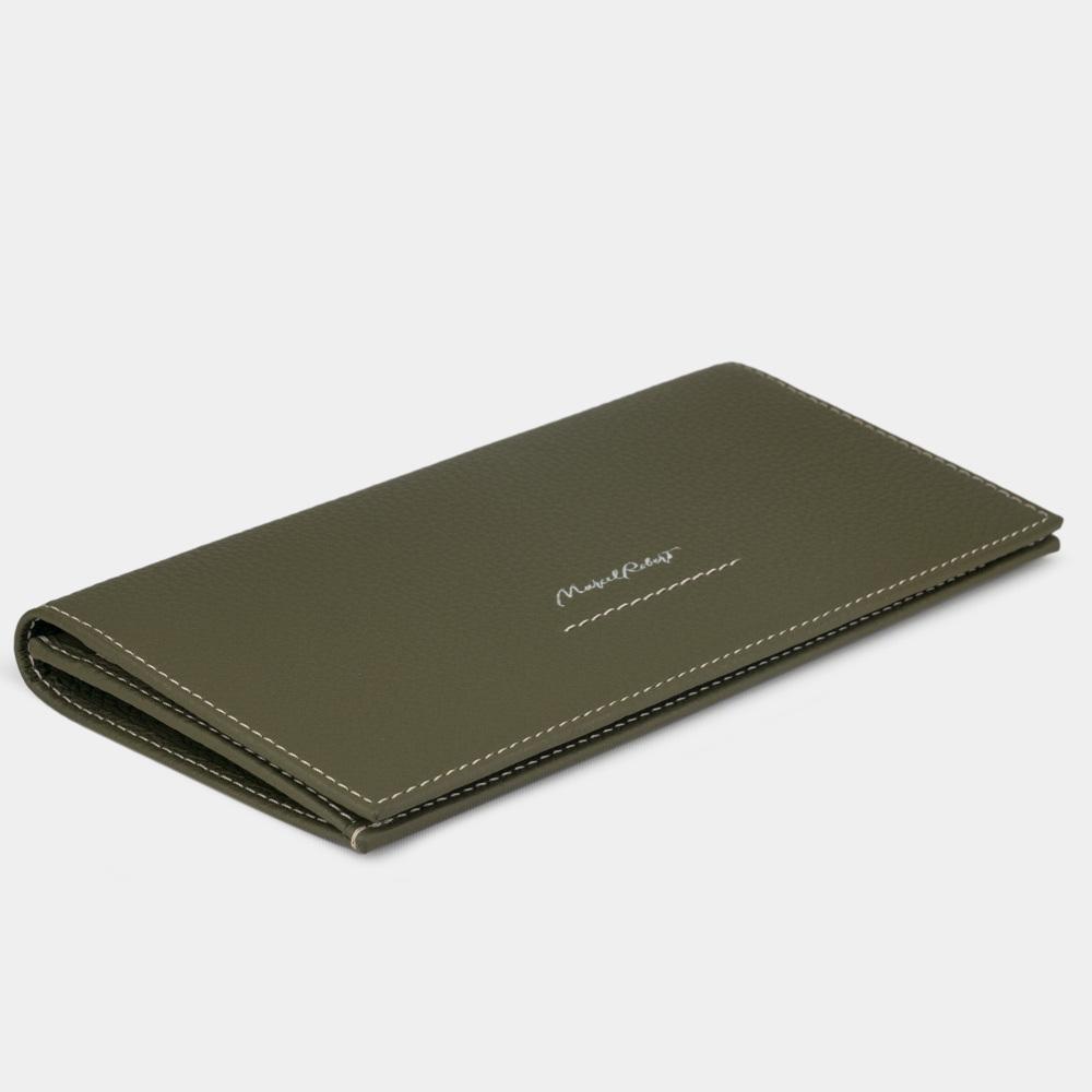 Длинный кошелек Eclair Bicolor из натуральной кожи теленка, зеленого цвета