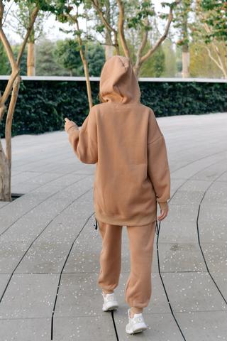 Спортивный костюм на флисе коричневый недорого