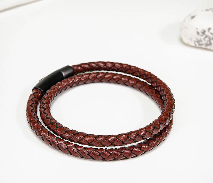 BM513-3R Двойной браслет из кожаного шнура бордового цвета фото 04