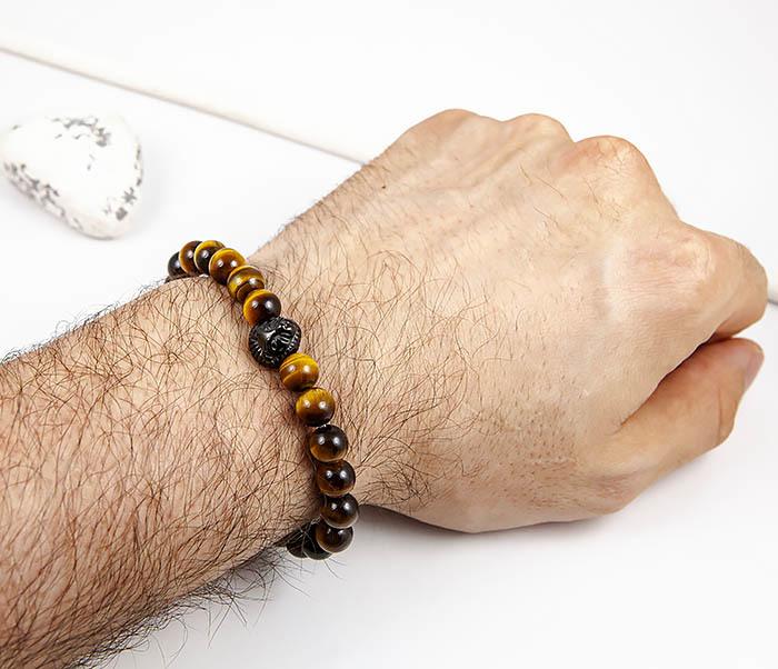 BS920 Мужской браслет из камней со львом фото 06