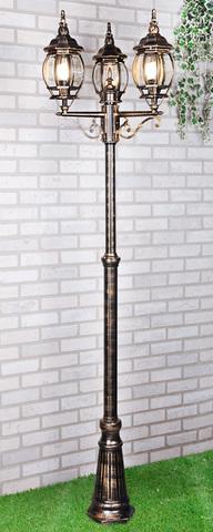 Уличный трехрожковый светильник на столбе IP33 NLG99HL005 черное золото