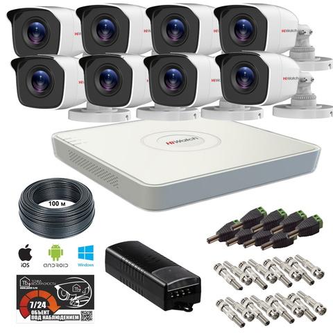 Full HD комплект видеонаблюдения на 8 уличных камер HiWatch