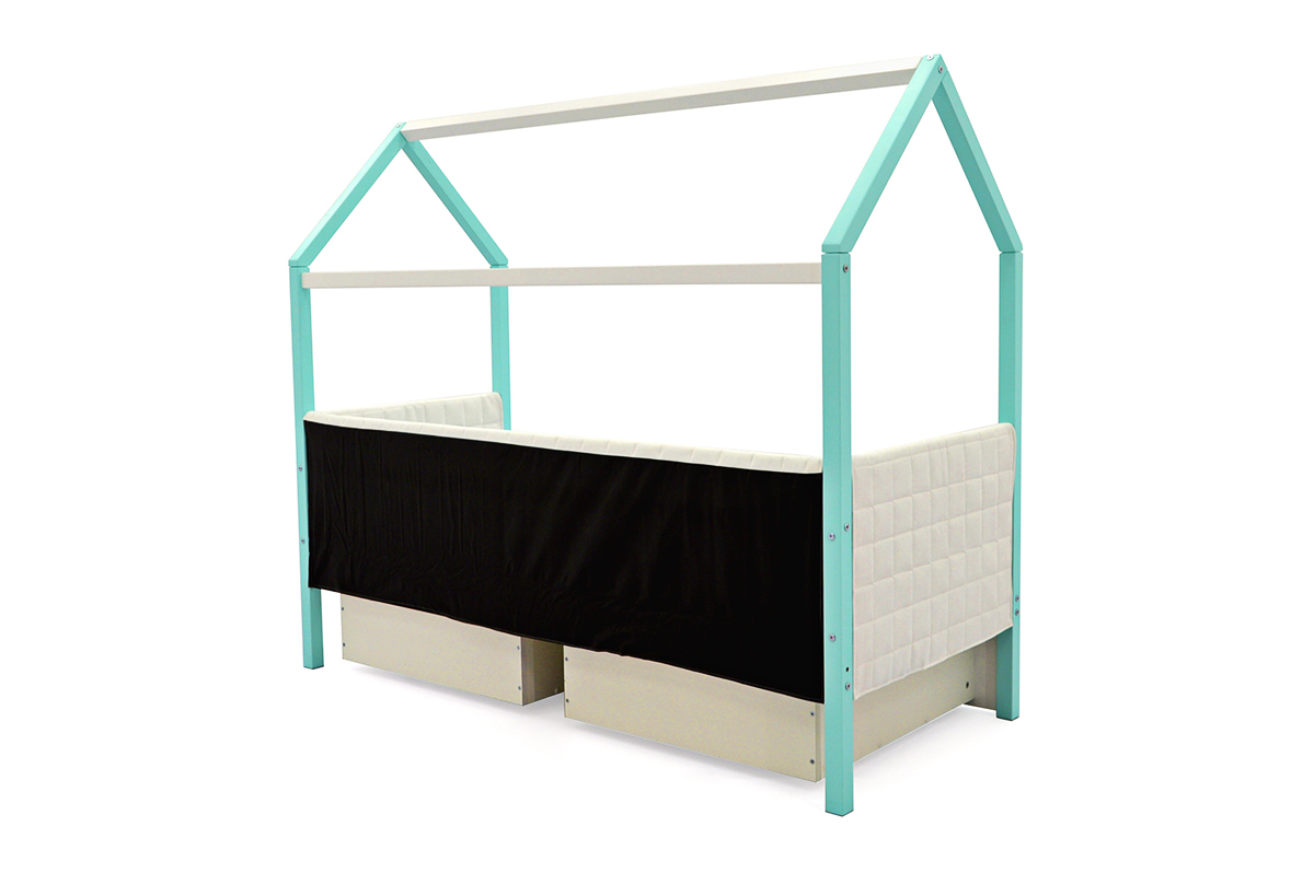 Кровать-домик мягкий «Svogen мятно-белый»