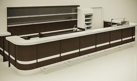 Дизайн-проект барной стойки для боулинга в исполнении венге