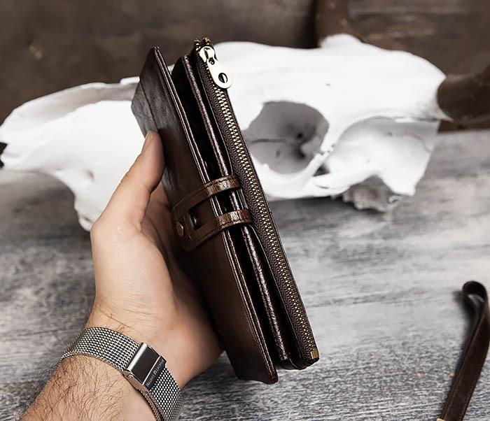 WL299-2 Мужской клатч с ремешком из натуральной кожи фото 12