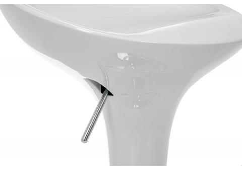 Барный стул Orion белый 40*40*75 - 96,5 Белый пластик /Хромированный металл каркас