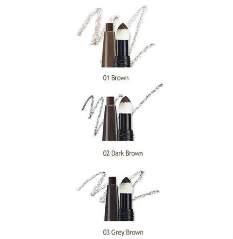 Карандаш для бровей 3 в 1 Eco Soul Designing Eyebrow 03 Grey Brown 0,2 гр + 0,12 гр
