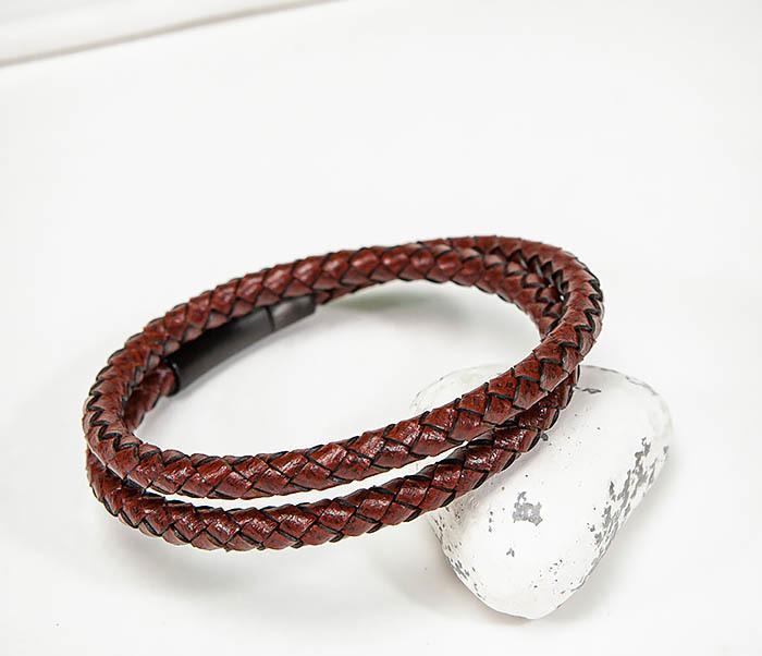 BM513-3R Двойной браслет из кожаного шнура бордового цвета фото 06