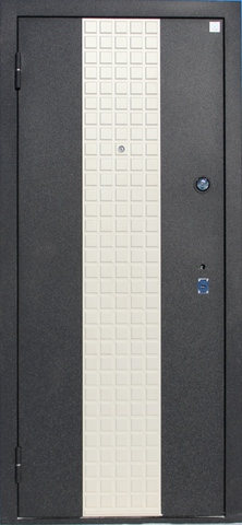 Дверь входная Агат 2 стальная, белый шёлк/тиковое дерево, 2 замка, фабрика Алмаз